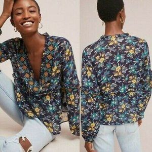 ANTHROPOLOGIE MEADOW RUE XS EMBROIDERED TOP